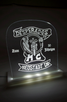 Acrylglas LED Leuchtschild mit Lasergravur