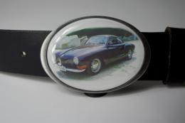 Edelstahl Gürtelschnalle Rahmen oval, Acrylglasfüllung Fotodruck