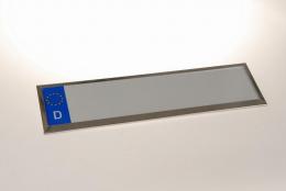 Kennzeichenhalter aus Edelstahl einzeilig 52 cm EU Norm